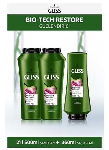 Gliss Gliss Bio-Tech Güçlendirici Şampuan 500 Ml X 2 Adet + Saç Kremi 360 Ml Renksiz